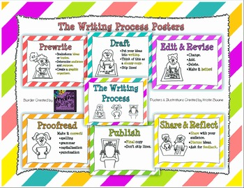 Writing Process Posters (with Illustrations)