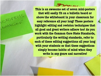 """Writing Process: Seven Mini-Posters for """"What Great Writers Do to Edit"""""""