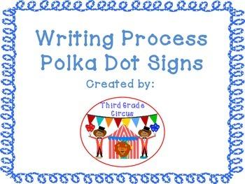 Writing Process Signs with Polka Dot Frames