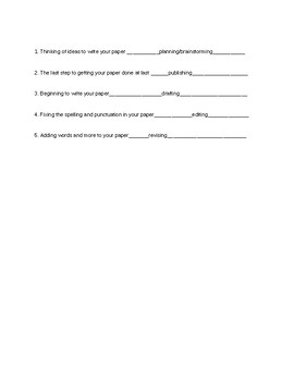 Writing Process Test