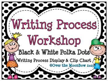 Writing Process Workshop Displays & Clip Chart – Black & White Polka Dots