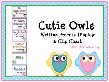 Writing Process Workshop Displays & Clip Chart – Cutie Owls & Polka Dots