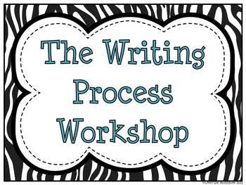 Writing Process Workshop Displays & Clip Chart – Zebra Stripe & Aqua