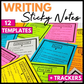 Writing Process and 6 Traits of Writing Sticky Note Checklists