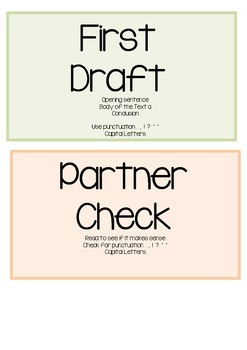 Writing Process- draft, plan, peer check, teacher conference