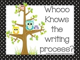 Black and White Polka Dot and Owls Writing Process posters