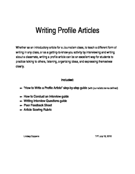 Writing Profile Articles: Journalism assignment, good intro activity