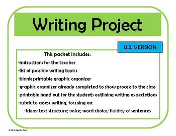 Writing Project – Any Subject (U.S. Version)