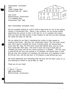 Writing Project:  Build a House Consultant Letter (Algebra)