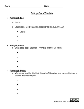 Writing Project: Design a Teacher (First Day or week of School Project)