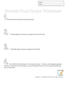 Writing Project: Favorite Food Recipe Writing Project