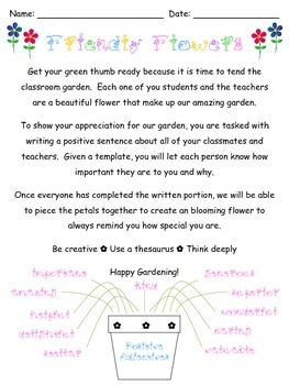 Writing Project: Friendly Flowers