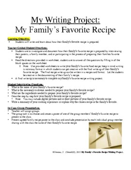 Writing Project: My Family's Favorite Food Recipe