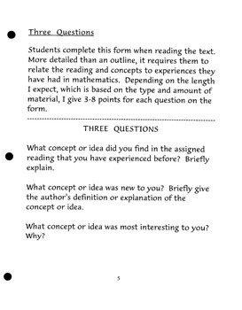 Writing Project:  Three Questions (Any Course - Not Just Math!)