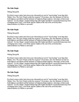 Reflective Essay English Class  Writing Prompt  On The Color Purple By Alice Walker Essays For High School Students To Read also Hamlet Essay Thesis The Color Purple Alice Walker Teaching Resources  Teachers Pay Teachers English Composition Essay Examples