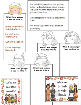 """Writing Prompt Activities For """"The Littlest Pilgrim"""""""