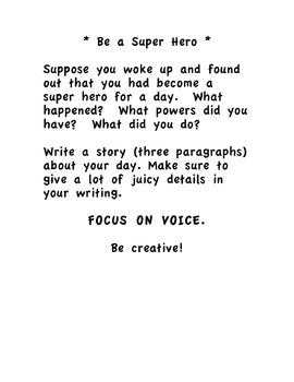 Writing Prompt: Be a Super Hero