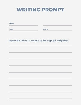 Writing Prompt - Being a Good Neighbor