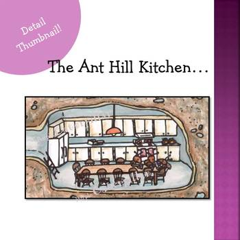 Writing Prompt Busy Picture :  Ant Hill Home in Color and Black and White