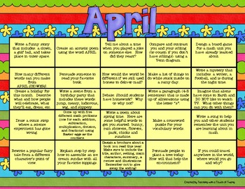Writing Prompt Calendar - April
