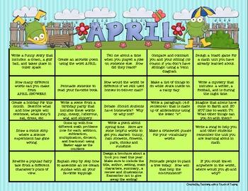 Writing Prompt Calendar - April