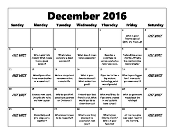 Writing Prompt Calendar-December 2016