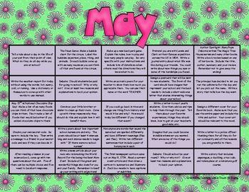 Writing Prompt Calendar - May