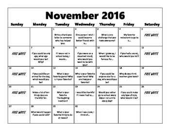 Writing Prompt Calendar-November 2016