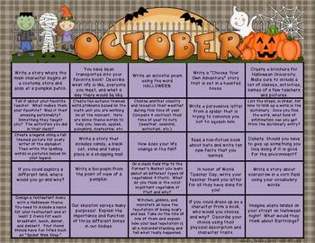 Writing Prompt Calendar - October