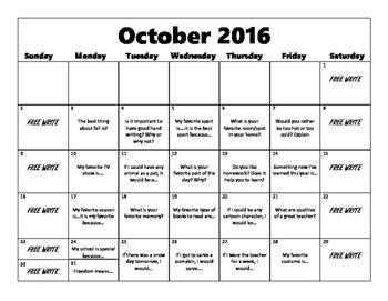 Writing Prompt Calendar- October 2016