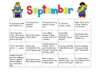 Writing Prompt Calendar - September