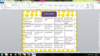 Writing Prompt Calendars August-June Bundle
