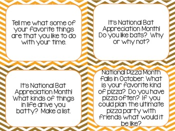Writing Prompt Cards - October