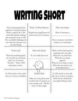 10 Writing Choice Boards with 90 Writing Prompts