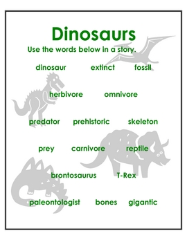 Writing Prompt Folders- Dinosaur