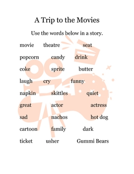 Writing Prompt Folders- movies