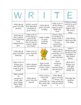 Writing Prompt Grid Sheet