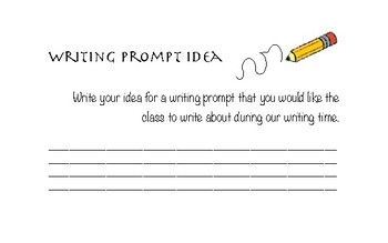 Writing Prompt Idea Handout