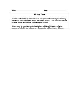 Writing Prompt- Instincts vs. Learned Behaviors