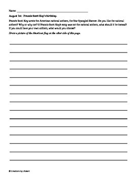 """Writing Prompt """"Journal"""" for August (4th-8th)"""