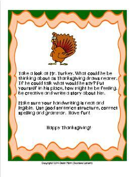 Writing Prompt & Literacy Activities for Thanksgiving (3-6)