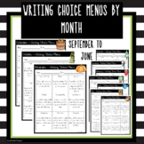 Writing Prompt Menu Options by Month
