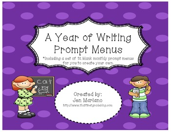 Writing Prompt Menus Throughout the Year