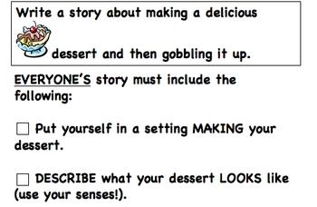 Writing Prompt Organizer - Favorite Dessert