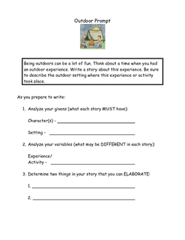 Writing Prompt Organizer - Outdoor Experience