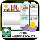 Writing Prompts & Paper April - Beautiful Picture Prompts + Written Prompts