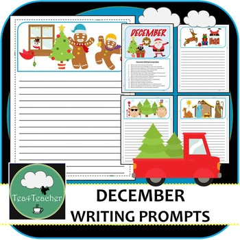 Writing Prompt Pages December - Beautiful Picture Prompt Pages + Extra Prompts