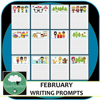 Writing Prompt Pages February - Beautiful Picture Prompt Pages + Extra Prompts