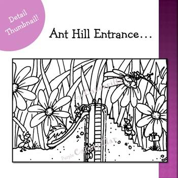 Writing Prompt Busy Picture :  Ant Hill Home in Black and White Only