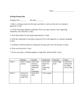 Writing Prompt Plan and Rubric